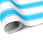 [ Thumbnail: White and Deep Sky Blue Colored Striped Pattern Wrapping Paper ]