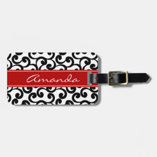 White and Ebony Monogrammed Elements Print Bag Tag