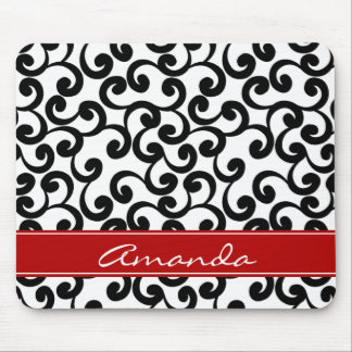 White and Ebony Monogrammed Elements Print Mouse Pad