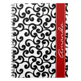 White and Ebony Monogrammed Elements Print Spiral Note Book