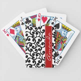 White and Ebony Monogrammed Elements Print Card Deck
