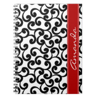 White and Ebony Monogrammed Elements Print Spiral Notebook