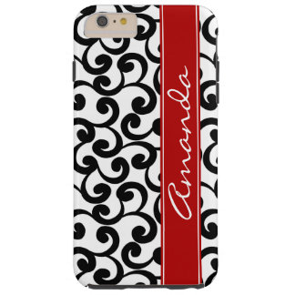 White and Ebony Monogrammed Elements Print Tough iPhone 6 Plus Case