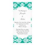 White and Emerald Green Damask Wedding Program Rack Cards