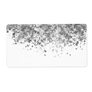 White and faux glitter personalized label