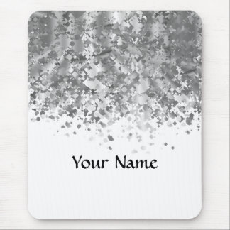 White and faux glitter personalized mouse pad