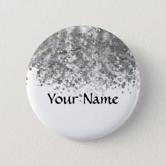 White and faux glitter personalized pinback button