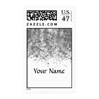 White and faux glitter personalized postage
