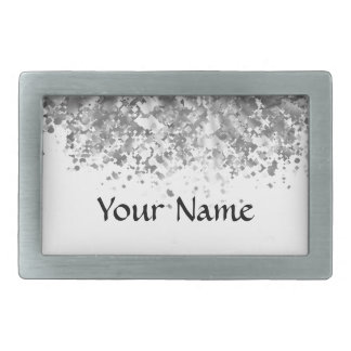 White and faux glitter personalized rectangular belt buckle