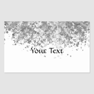 White and faux glitter personalized rectangular sticker