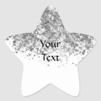 White and faux glitter personalized star sticker