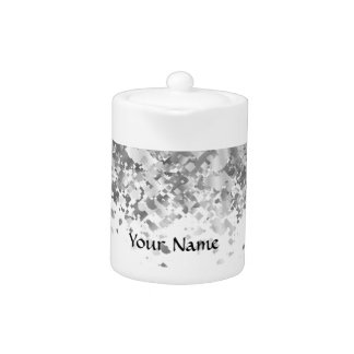 White and faux glitter personalized teapot