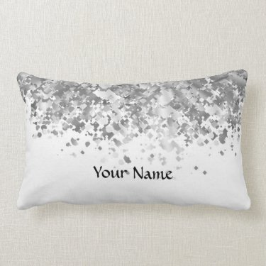 White and faux glitter personalized throw pillows