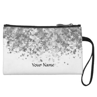 White and faux glitter personalized wristlet