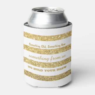 White and Faux Gold Glitter Stripes | Wedding Can Cooler