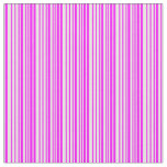 [ Thumbnail: White and Fuchsia Colored Striped Pattern Fabric ]