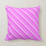 [ Thumbnail: White and Fuchsia Colored Striped Pattern Pillow ]