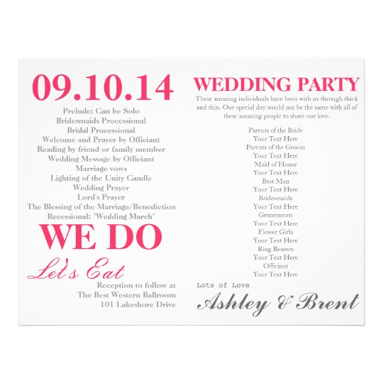 White And Fuchsia Pink Wedding Ceremony Program Flyer