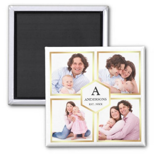 White and Gold 4 Pictures Family Photo Collage Magnet