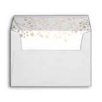White and gold baby's breath wedding envelope