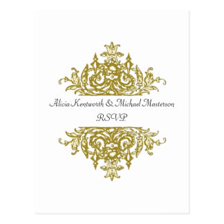 White and Gold Baroque RSVP Postcard