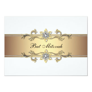 White and Gold Bat Mitzvah Card