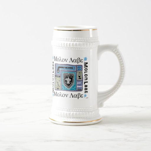 White and Gold Beer Stein with Molon Labe Logo Mug