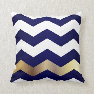 White and Gold Chevron Pattern on Navy Blue Throw Pillow