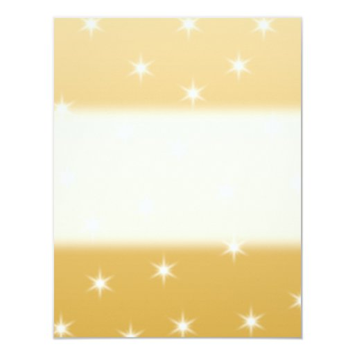 White and Gold Color Star Pattern 4.25x5.5 Paper Invitation Card