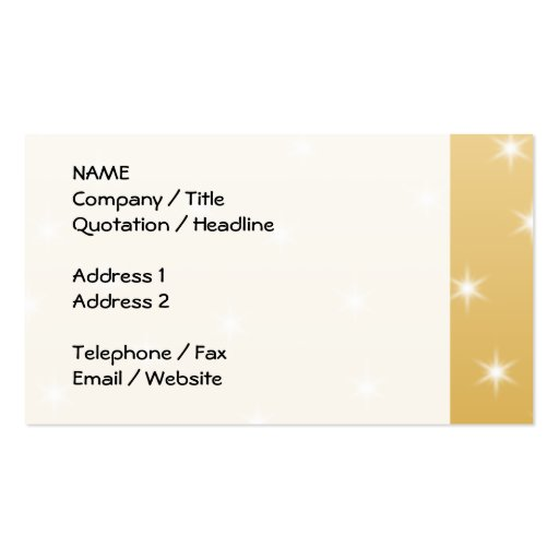 White and Gold Color Star Pattern Business Card Templates