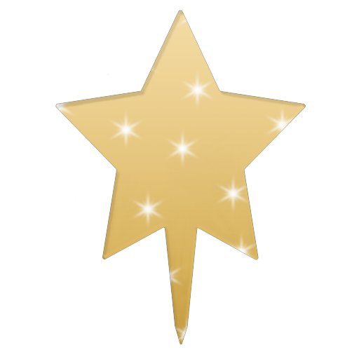 White and Gold Color Star Pattern Star Cake Topper