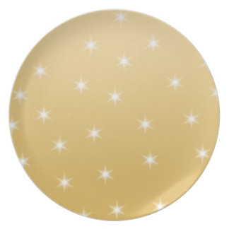 White and Gold Color Star Pattern Melamine Plate