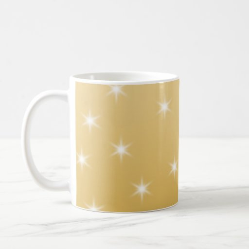 White and Gold Color Star Pattern Classic White Coffee Mug