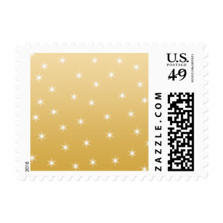White and Gold Color Star Pattern Postage Stamp