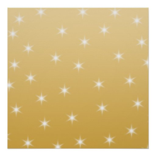 White and Gold Color Star Pattern Poster
