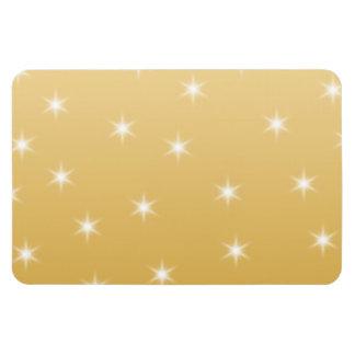 White and Gold Color Star Pattern Rectangular Photo Magnet