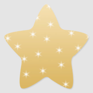White and Gold Color Star Pattern Star Sticker