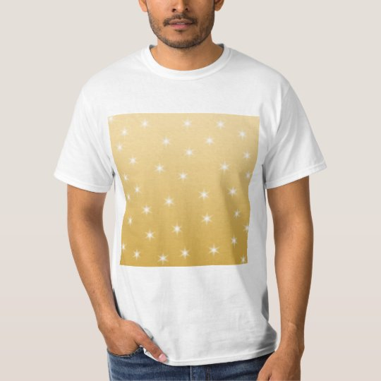 White and Gold Color Star Pattern T-Shirt