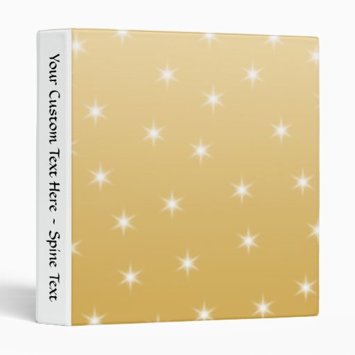 White and Gold Color Star Pattern Vinyl Binder