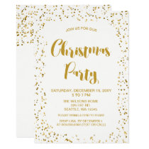 White and Gold confetti Modern Christmas Party Card