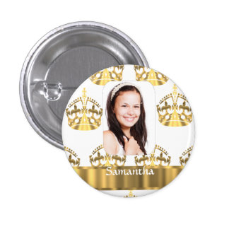 White and gold crowns pattern personalized button
