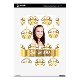 White and gold crowns pattern personalized decal for iPad 3