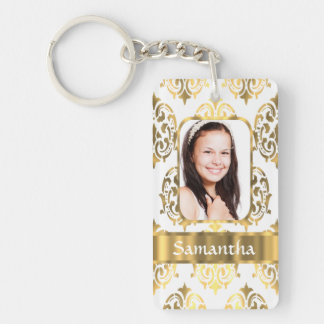 White and gold damask keychain