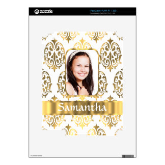 White and gold damask skin for iPad 2