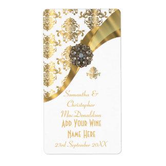 White and gold damask wedding wine bottle label