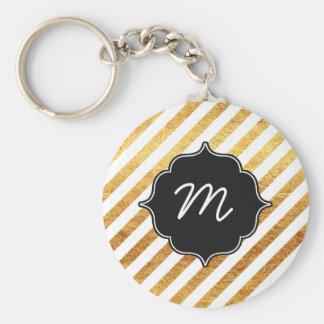 White and Gold Diagonal Stripes Quatrefoil Keychain