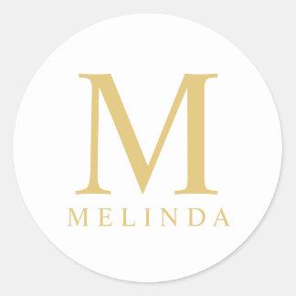 White and Gold Elegant Monogram Classic Round Sticker