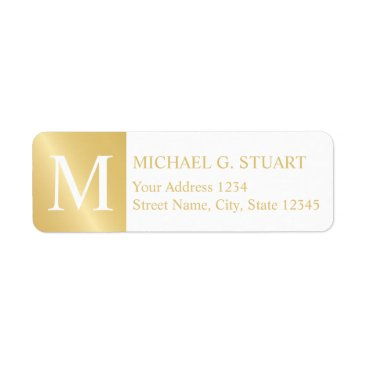 Professional Business White and Gold Elegant Monogram Label