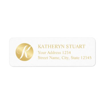 Professional Business White and Gold Elegant Monogram Label