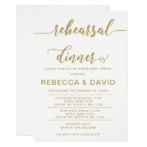 white and gold Elegant Script Rehearsal Dinner Card